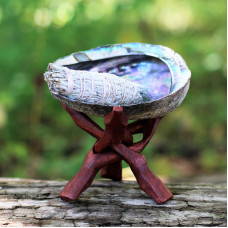 Abalone Shell & White Sage Bundle with Stand